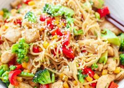 Noodle with teriyaki chicken and vegetables